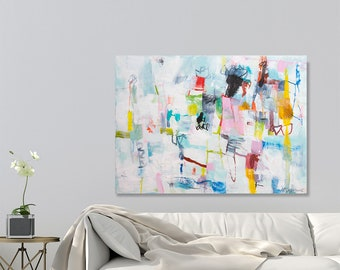 Abstract painting on Canvas art, Large wall art, Large abstract art, Colorful Large canvas art Above Bed wall art by Duealberi