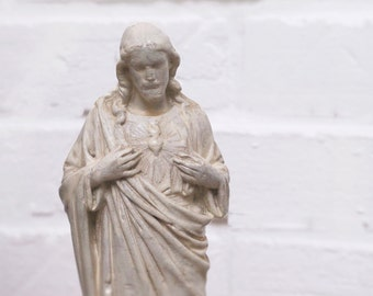 Antique French Chalkware Sacred Heart Jesus Christ Statue, French religious white Statue