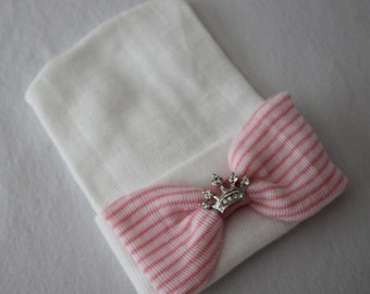 White Newborn Beanie Hospital Hat with Pink and White Bow & Crown Accent, Baby Girl, Cotton, Princess, Baby Keepsake
