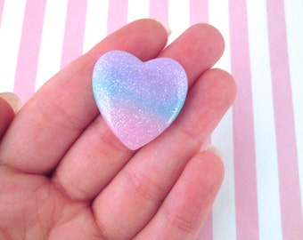 2 Pink Purple Blue Rainbow Glitter Resin Heart Cabochons #664