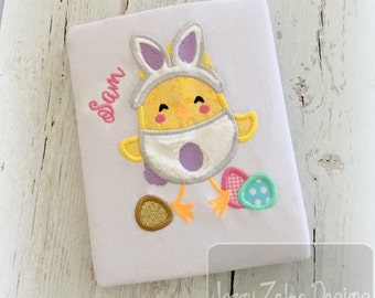 Easter Chick in Bunny Suit Appliqué Embroidery Design - Easter appliqué design