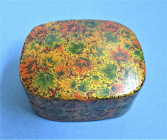 Lacquer Jewelry Trinket Box Vintage Paper Mache Box Made in