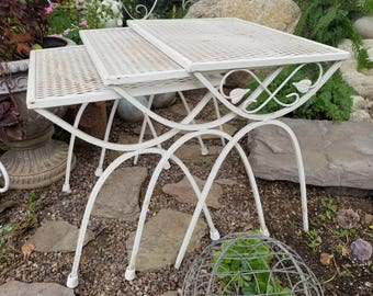 Set Of Three White Metal Nesting Patio Tables / Plant Stands With Scroll  Metal Leaf Accents