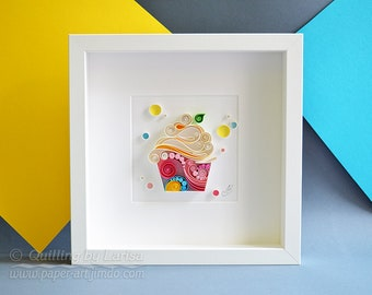 Quilling Paper Wall Art - Happy Cupcake To You