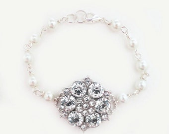 Swarovski Pearl Bracelet Bridal Bracelet crystal flower wedding jewelry in vintage style bridesmaids wife gift with matching pieces CHLOE