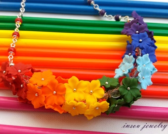 Rainbow Jewelry, Rainbow Necklace, Flower Necklace, Ombre Necklace, Gift For Her, Statement Necklace, Floral Jewelry, Handmade Necklace