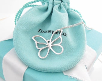 """Amazing Authentic Tiffany & Co. Sterling Silver Large Butterfly Pendant on a 16"""" Paloma Picasso Chain. - Like New!"""