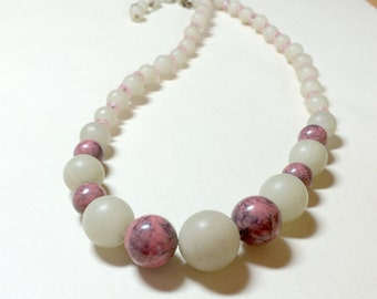 Vintage faux stone necklace, 16 to 18 inches, plastic beaded necklace, faux stone choker necklace, pink choke,r pink necklace, 1950s 1960s