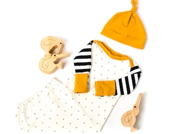 Baby layette gown in stripe and X&T