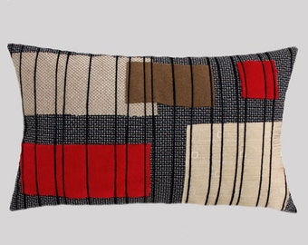 """Decorative pillow case, Upholstery fabric with Red, Brown, Beige, Black colors, Lumbar pillow case, fits 20"""" x 12"""" insert, Modern pillow."""