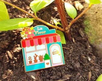 Floral shop enamel | Pin street pin Flower Shop LA FLEUR | Flower enamel pin | Shop pin | Enamel pin badge