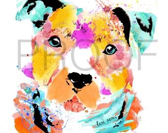 Pit Bull || Mason the Pit Bull || Dog Art || Pit Bull Print || Dog || Watercolor || Watercolor Art || Watercolor Dog Print