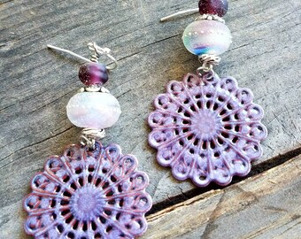 Purple Earrings Enameled Earrings Lavender Earrings Amythist Earrings Boho Earrings Round Earrings Filigree Earrings Colorful Earrings OOAK