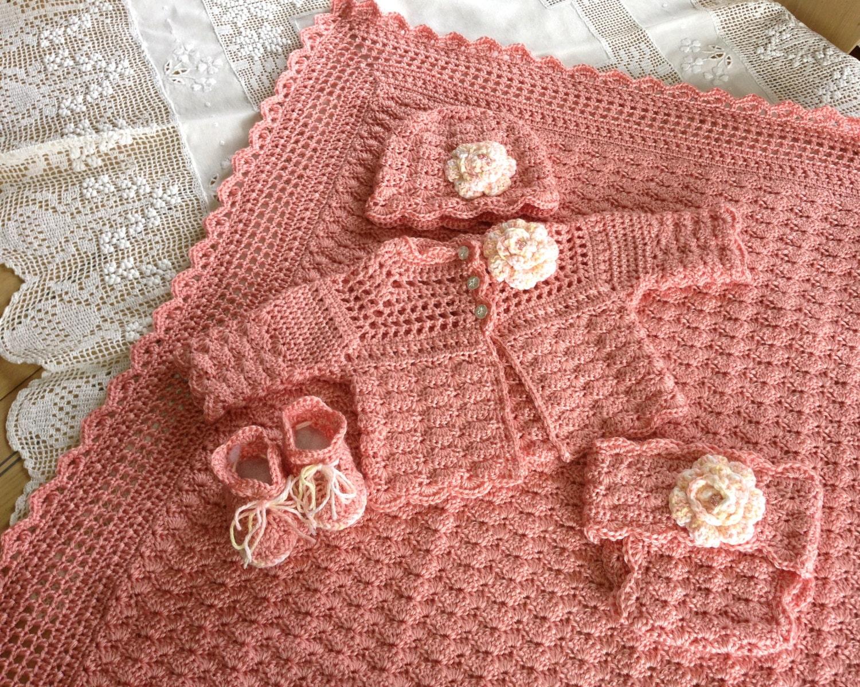 Crochet Pattern Baby Layette 5 Pieces Blanket Sweater