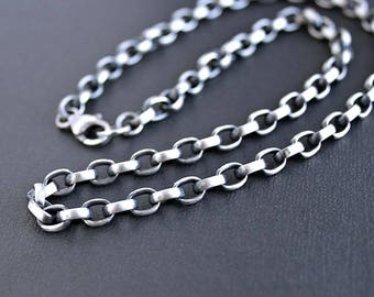 Mens Heavy Oval Silver Chain, Mens Sterling Silver Necklace