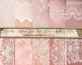 """Lace Digital Paper Pack Old Rose """"ANTIQUE ROSE LACES""""  Vintage digital paper. Digital romantic Paper. Texture background scrapbooking - 065"""
