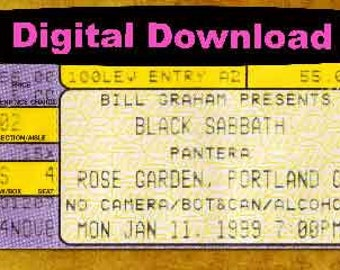 Black Sabbath  Concert Ticket Stub PHOTOSHOP FILE