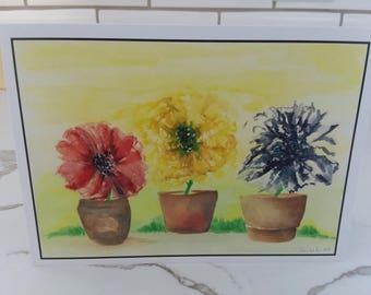 Besties Orginal Watercolor Print Greeting Card, Wall Art