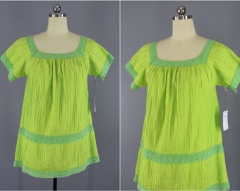 Vintage Tunic / 1970s Mexican Blouse / 70s Lime Green Top / Hippie Top / Festival Style / Crochet Tunic