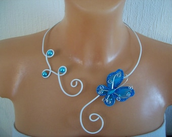 adornment necklace, bracelet, earring accessories aluminum wire white turquoise Butterfly bridal wedding witness
