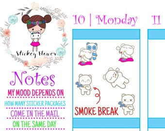 Blossom Bear - Smoking Break, Cute Stickers for Personal planners, Erin Condren Life Planner, Happy Planner or Scrapbooking