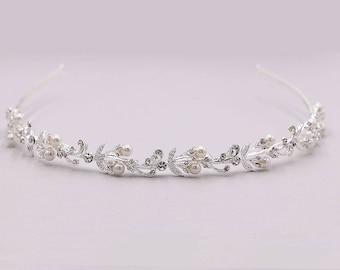 Rhinestone Crystal Pearl bridal headband headpiece, wedding headband, wedding headpiece, rhinestone tiara, Ava Pearl Headband