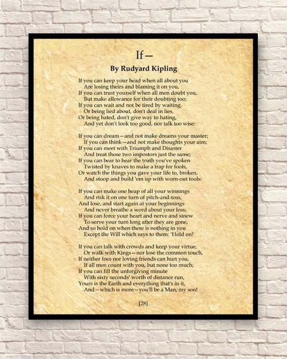 If Poem Rudyard Kipling Poem Custom Poem Poem Art Print