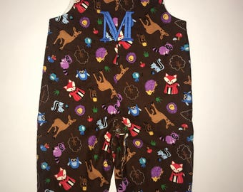 "Handmade ""Woodland Friends"" Long-all Romper Jon Jon Multi-Color/Custom/Embroidery/Monogram BOY"