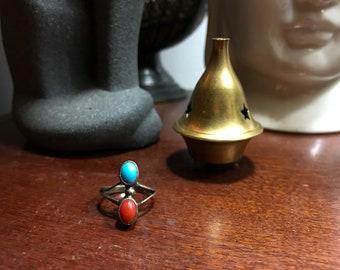 Turquoise & Red Jasper Southwestern Ring