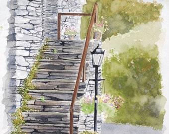 Ireland Landscape - fine art print - Ireland Watercolor - Stone Building - Irish Painting
