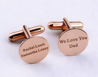 Rose Gold Personalized Wedding Cufflinks,Engraved Name  Cufflinks,Custom Engraved Cufflinks,Groom Cufflinks,Personalized Cufflinks