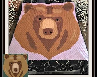 Bear Head C2C Graph, Bear C2C Graph, Bear Corner to Corner, Bear Crochet Pattern