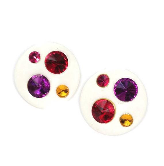 White Lucite Rhinestone Earrings Multi Color Rivoli Stones Large Round Clip Ons