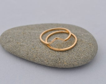 Gold peak stack rings