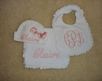 Custom personalized monogrammed 3 initial pink on white ruffled bib and burp cloth and hat with bow girl baby shower set