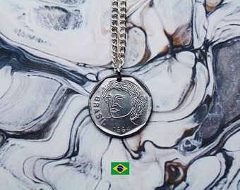 Brazilian 25 Centavos Handmade Silver Coin Necklace - Silver Plated Chain.