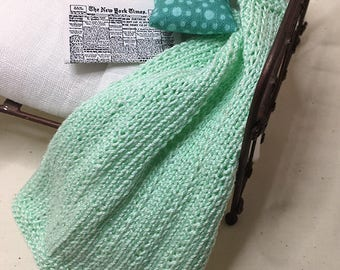 Shabby Chic Handmade Miniature Dollhouse Small Bed Throws - Hand Knitted  - Mist Green