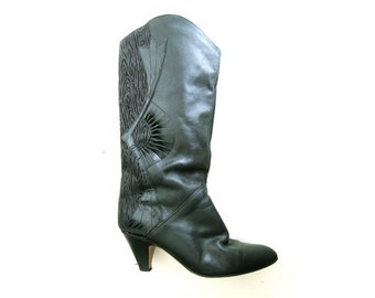 80's Pirate Boots Black Tall Boots, Short Heel, 7 - 7.5