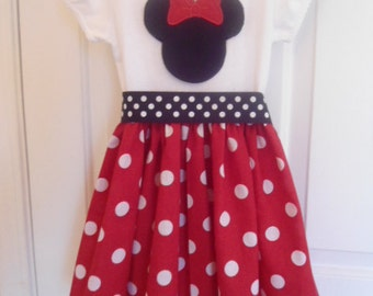 Custom Boutique Clothing Minnie Mouse Dress, Disney Dress, Girls Red White Dot Dress, Birthday Dress, Custom Girls Dress