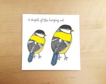 hand drawn card - funny card for friends - funny card - Illustrated card - birthday card - blank card - blue tit - illustration - bird card