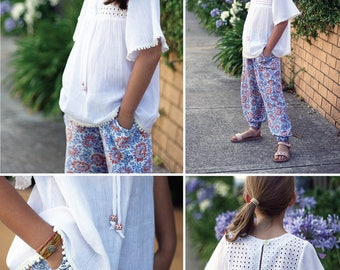 BOHO BUNDLE:  TWO Sewing Patterns Toddlers Children Girls Boys Top, Blouse, Dress, Pants Sizes 1-12