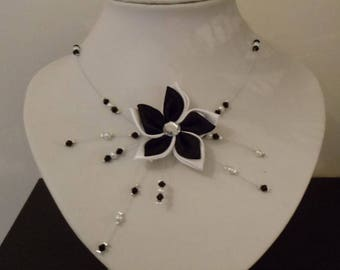 black satin and white yarn Flower necklace hypoallergenic available on wedding