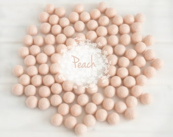 Wool Felt Balls - Size, Approx. 2CM - (18 - 20mm) - 25 Felt Balls Pack - Color Peach-5026- Peach Poms - Peachl Wool Felt Balls - Peach Balls