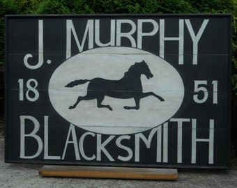 "36"" x 24"", J. Murphy, Blacksmith, Trade, Sign, Wood, Horse, Sign, Folk Art, Primitive, Hand Painted"