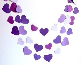 Valentines day decor Purple garland, purple ombre birthday party decor, violet purple hearts paper garland banner, bridal shower decor