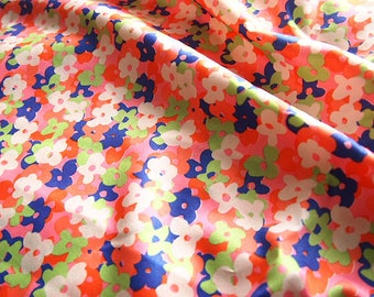 Liberty fabric, satin fabric, orange, floral, flowers, liberty fabric for summer