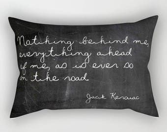 Jack Kerouac Pillow Quote, Boho Pillows, Lumbar Pillow Cover, Black Velvet Pillow, Velvet Cushion Cover, Wanderlust, Bohemian Decor