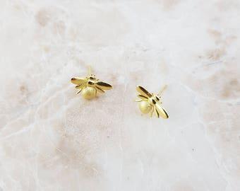 Gold Bumblebee Earrings