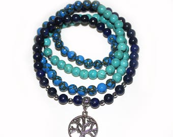 Japa Mala  108 Gemstone Lapis Lazuli, Azurite, Howlite 8mm Beads, Prayer Yoga Necklace, Healing Mala for Meditation and Mantra