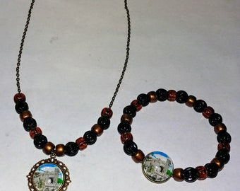 Castle Necklace & Bracelet Set